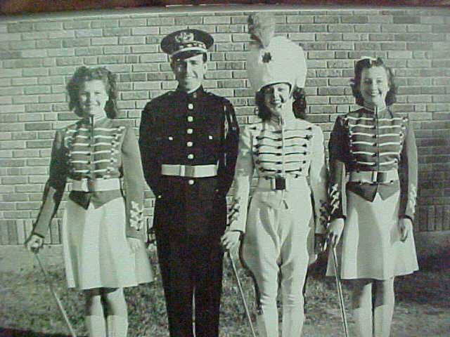 1941 PHS Band Director Ray Robbins with Drum Major & Twirlers